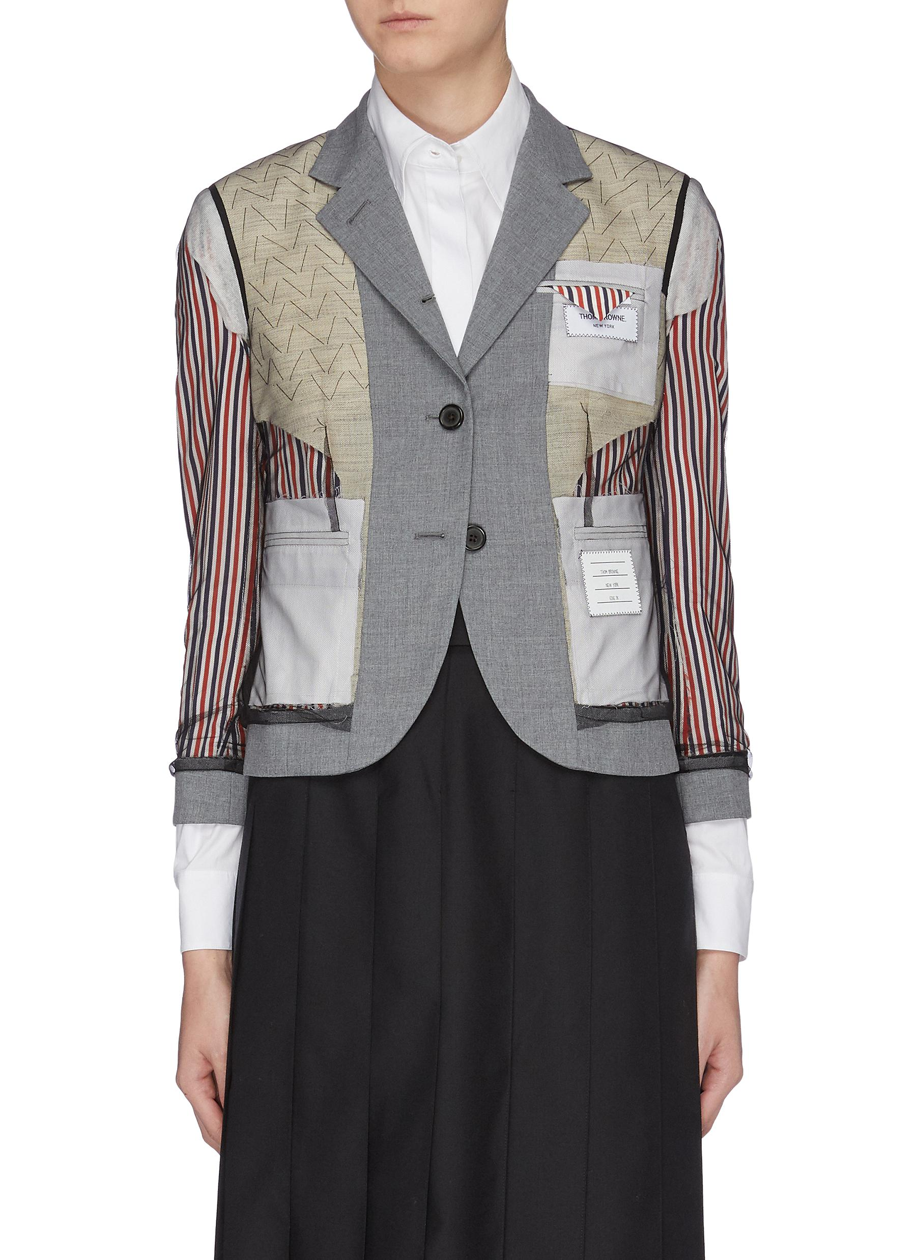 Patchwork inside-out mesh overlay blazer by Thom Browne