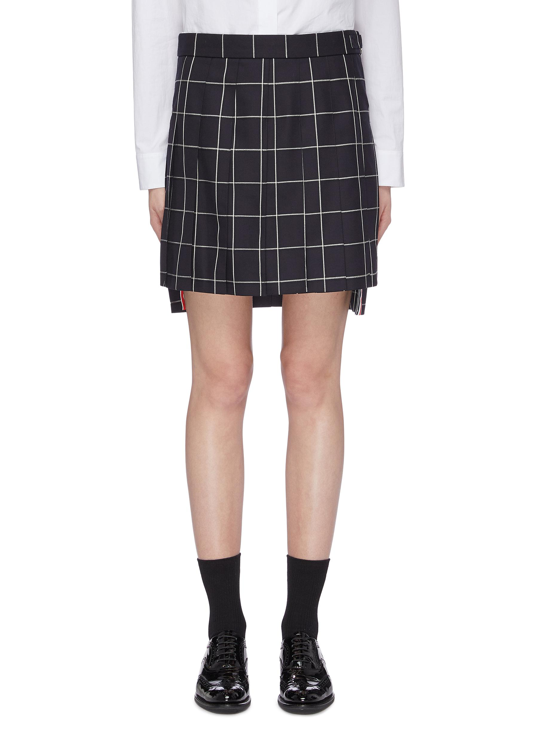 Pleated windowpane check high-low skirt by Thom Browne
