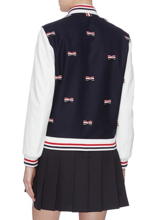 Back View - Click To Enlarge - THOM BROWNE - Stripe bow appliqué cricket stripe border varsity jacket