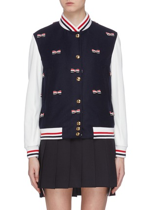 Main View - Click To Enlarge - THOM BROWNE - Stripe bow appliqué cricket stripe border varsity jacket