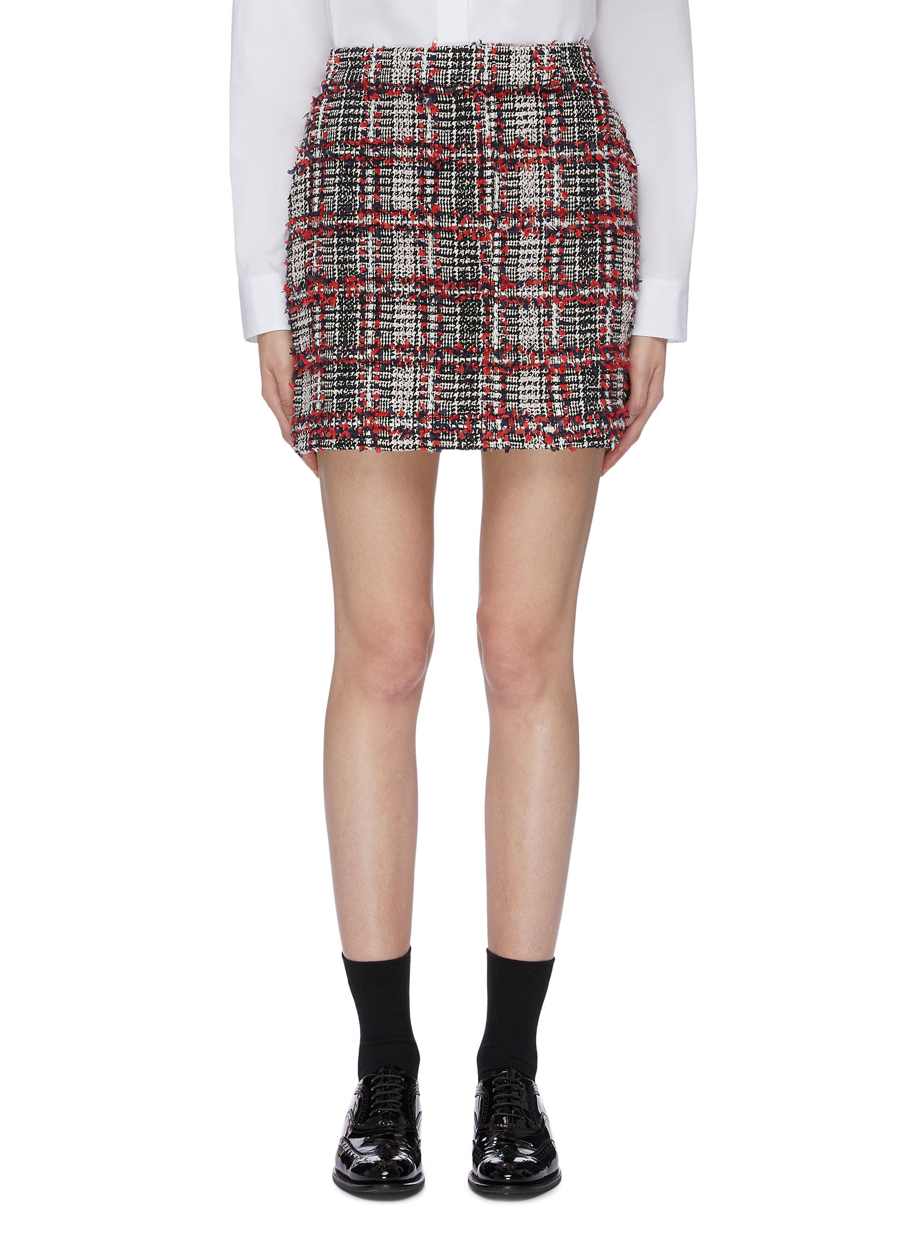 Frayed houndstooth check plaid wool blend tweed skirt by Thom Browne