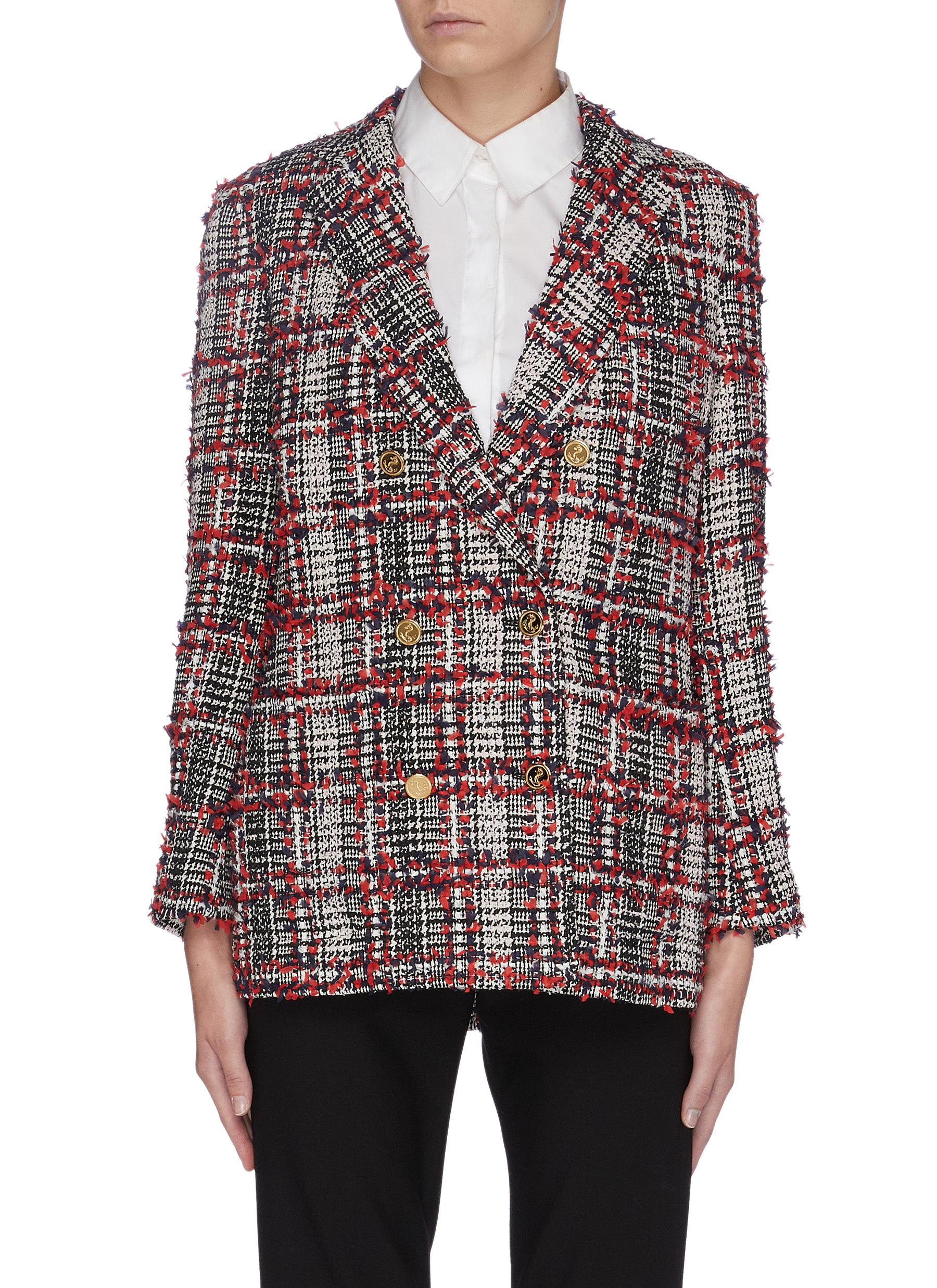 Frayed houndstooth check plaid wool blend tweed blazer by Thom Browne