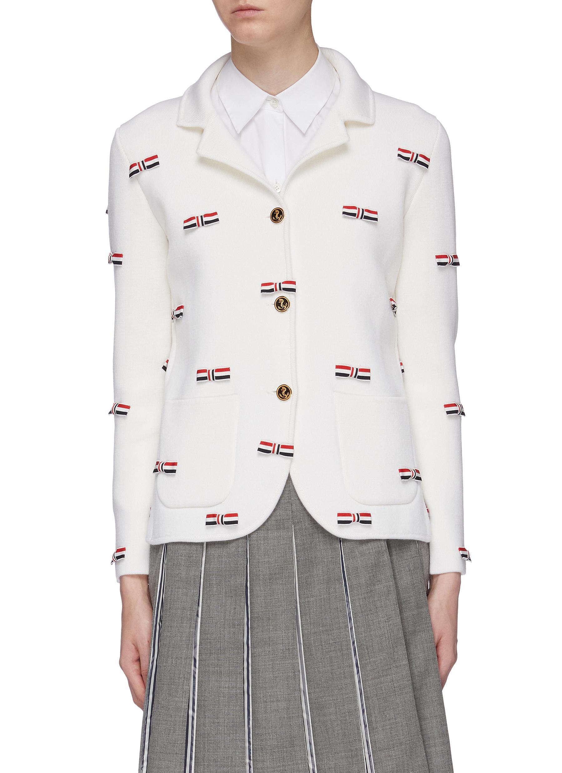 Stripe bow appliqué wool knit blazer by Thom Browne