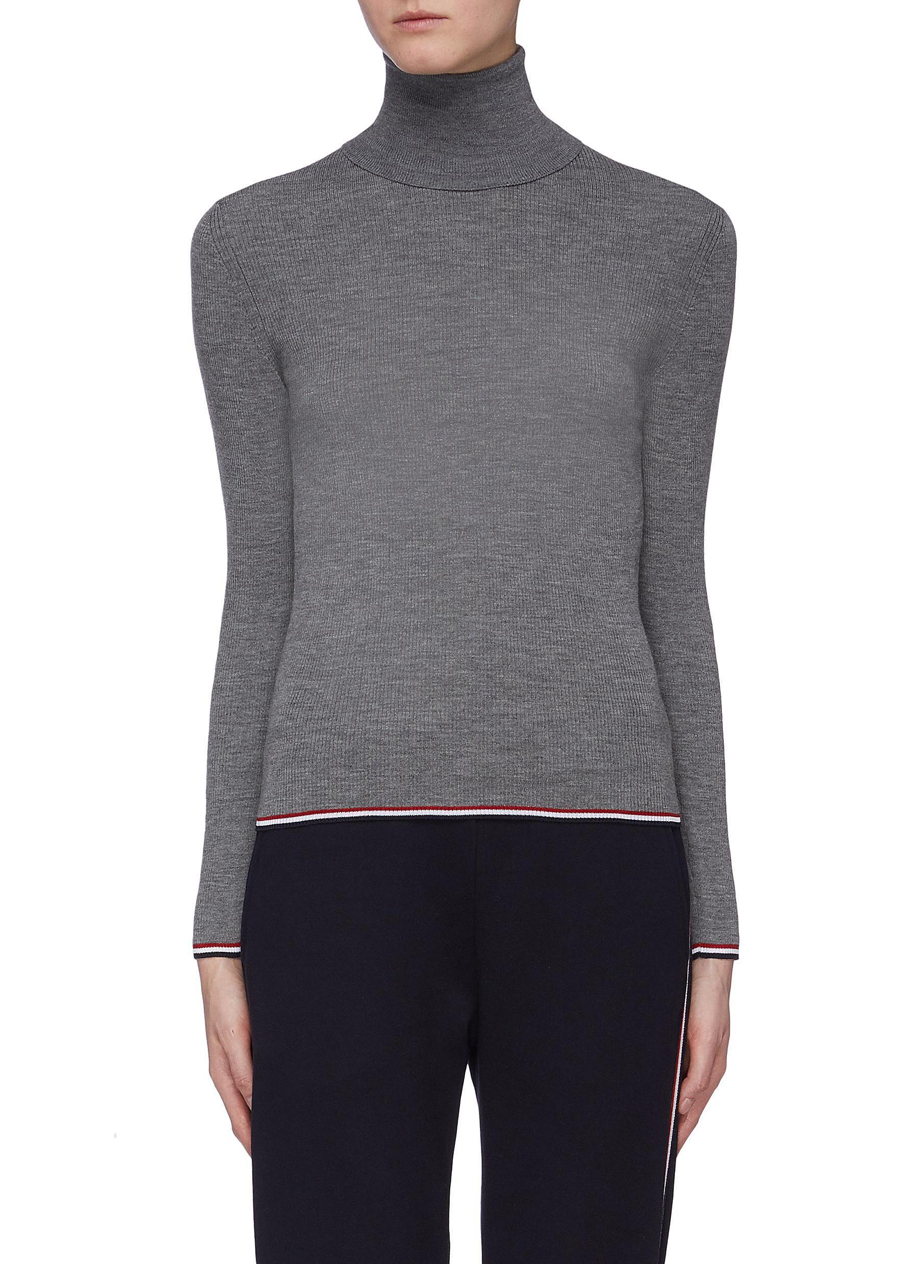 Stripe border rib knit turtleneck sweater by Thom Browne