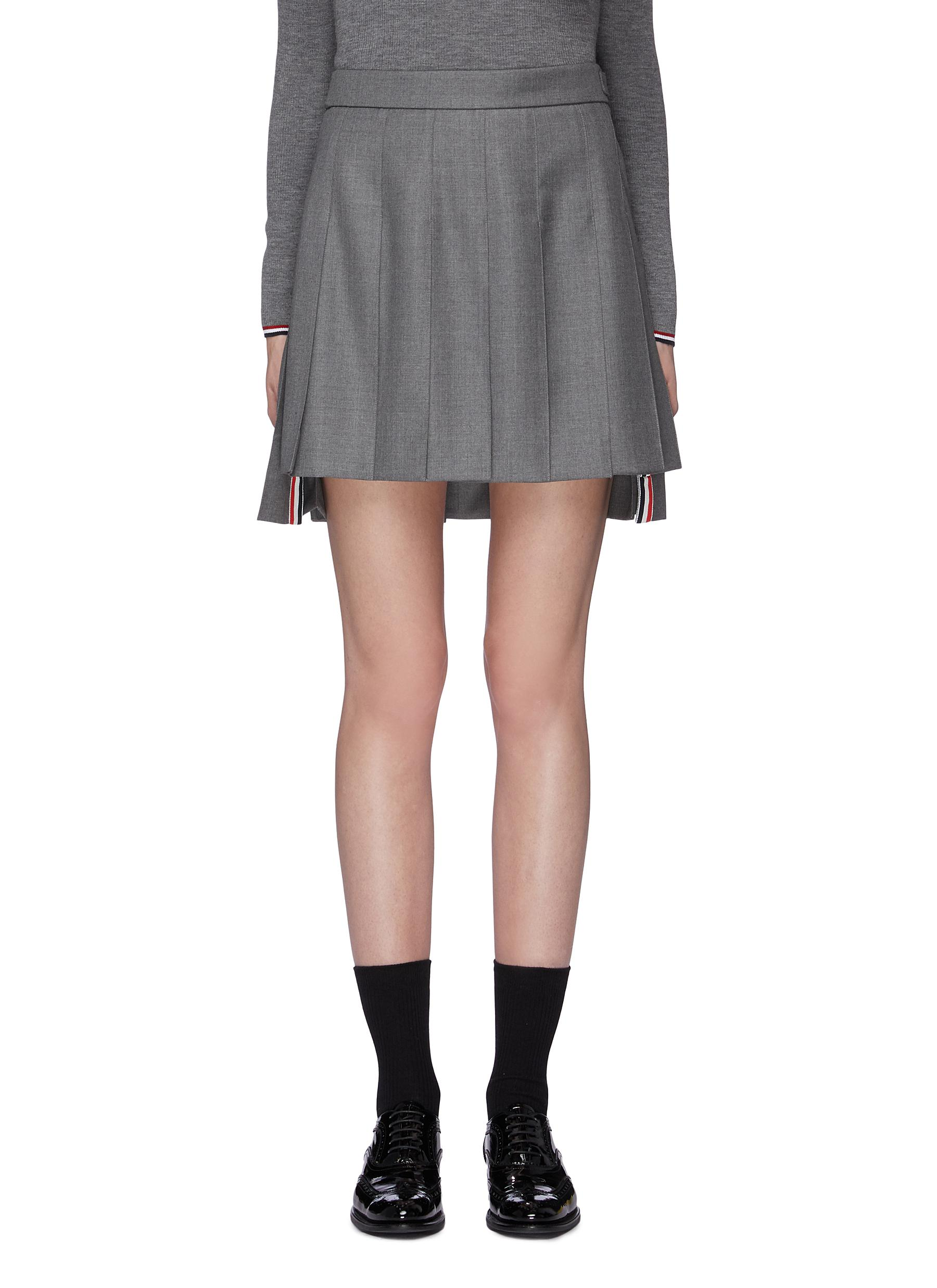 Pleated wool twill high-low skirt by Thom Browne