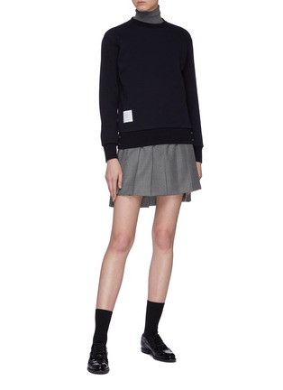 Figure View - Click To Enlarge - THOM BROWNE - Pleated wool twill high-low skirt