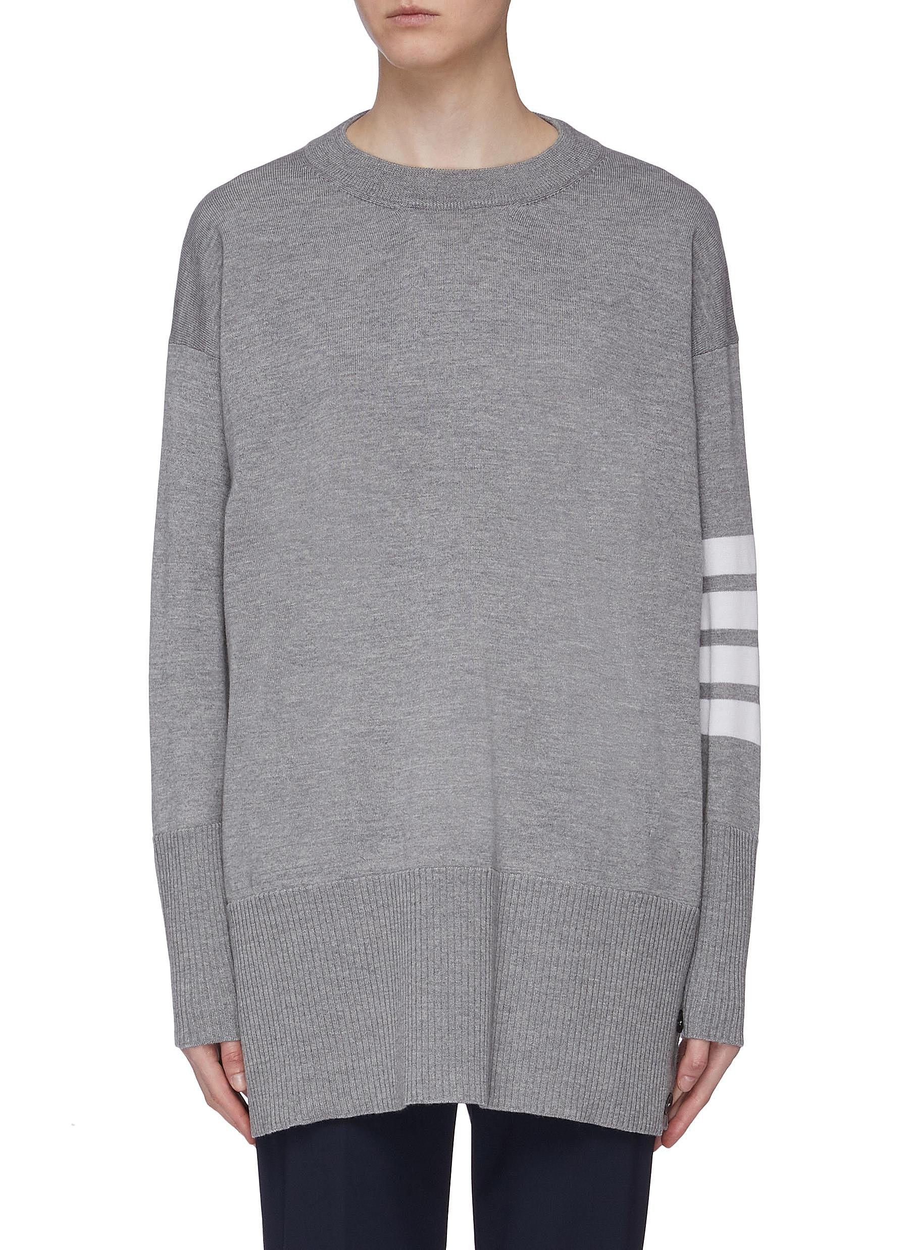 Stripe sleeve button cuff oversized wool sweater by Thom Browne