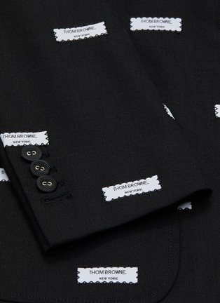 - THOM BROWNE - Label embroidered cropped sleeve blazer