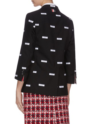 Back View - Click To Enlarge - THOM BROWNE - Label embroidered cropped sleeve blazer