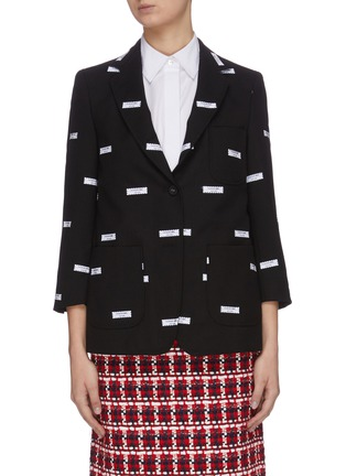 Main View - Click To Enlarge - THOM BROWNE - Label embroidered cropped sleeve blazer