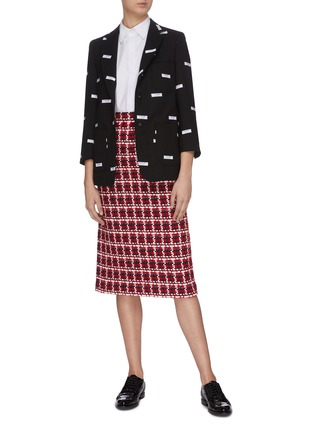 Figure View - Click To Enlarge - THOM BROWNE - Label embroidered cropped sleeve blazer