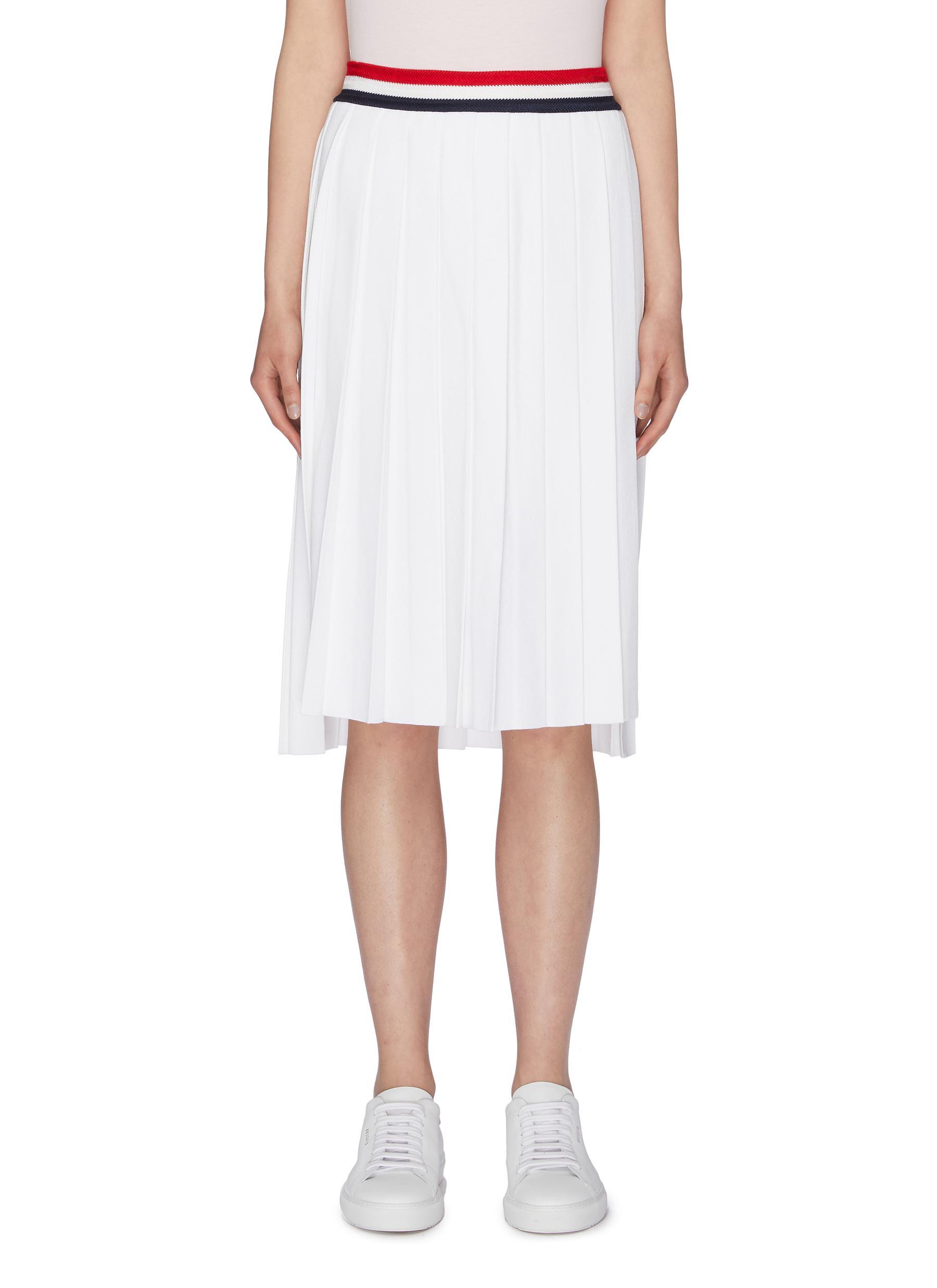 Stripe waist pleated skirt by Thom Browne