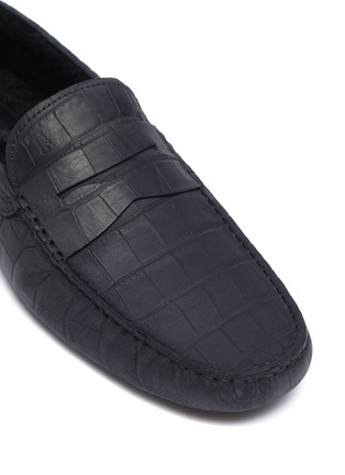 Detail View - Click To Enlarge - TOD'S - 'City Gommino' croc embossed leather driving shoes