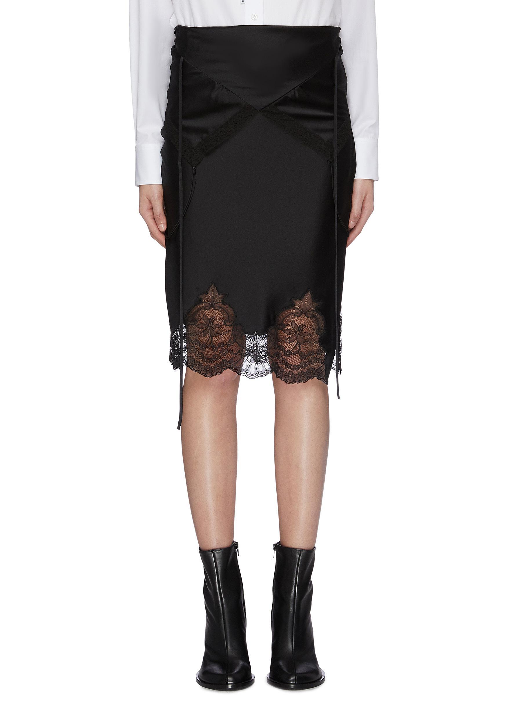 Lace panel scallop hem satin skirt by Alexanderwang