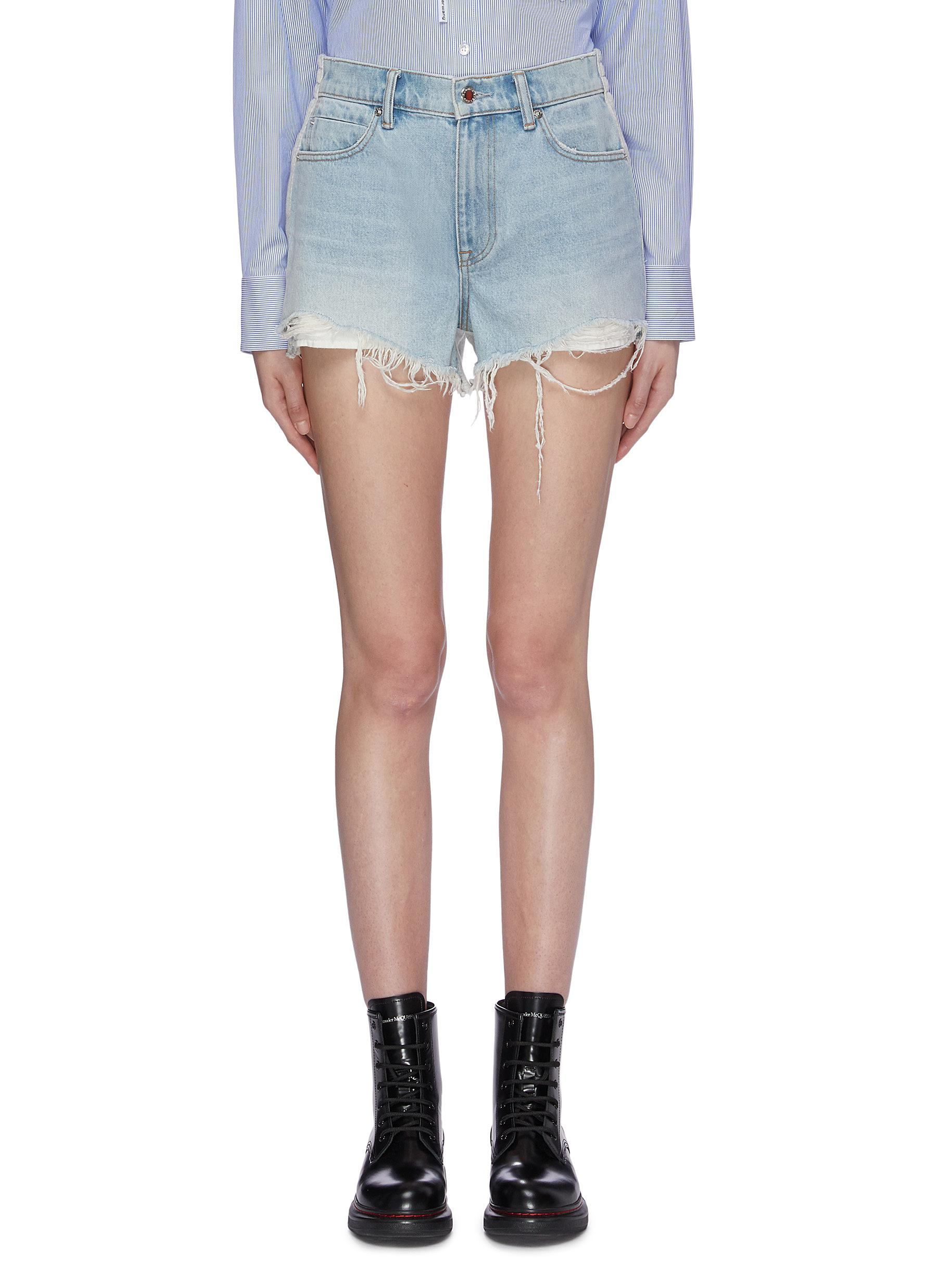 Bite Clash sweatshirt back distressed denim shorts by Alexanderwang