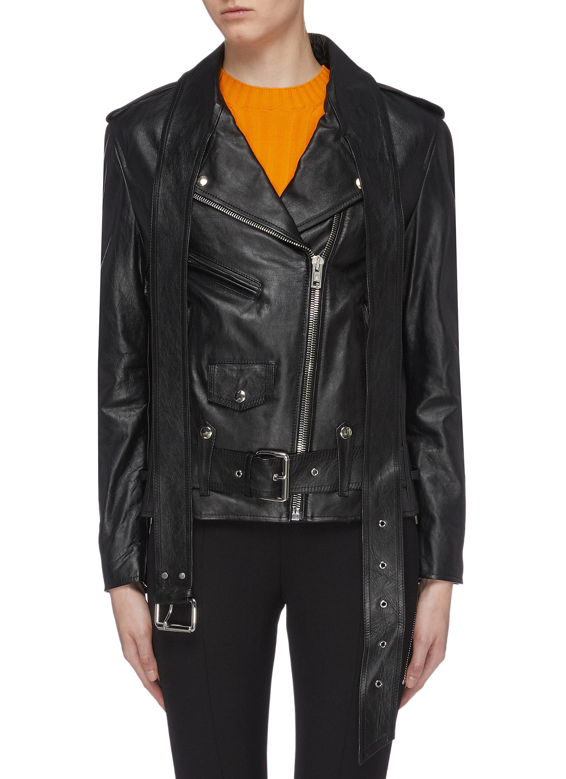 Belted martingale leather moto jacket by Alexanderwang