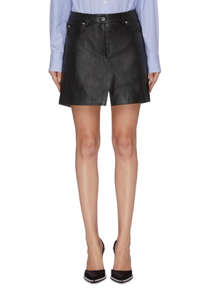 Main View - Click To Enlarge - ALEXANDER WANG - Leather apron skirt