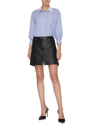 Figure View - Click To Enlarge - ALEXANDER WANG - Leather apron skirt