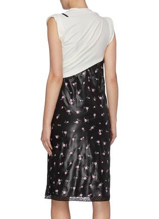 Back View - Click To Enlarge - ALEXANDER WANG - Panelled colourblock floral print slip dress