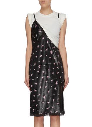 Main View - Click To Enlarge - ALEXANDER WANG - Panelled colourblock floral print slip dress