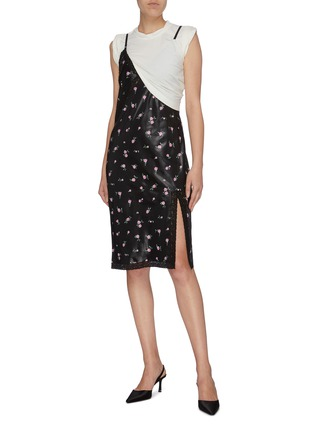 Figure View - Click To Enlarge - ALEXANDERWANG - Panelled colourblock floral print slip dress