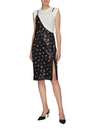 Figure View - Click To Enlarge - ALEXANDER WANG - Panelled colourblock floral print slip dress