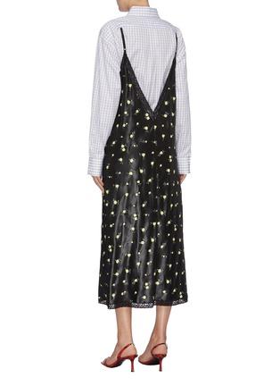 Back View - Click To Enlarge - ALEXANDER WANG - Checkered shirt underlay floral print slip dress