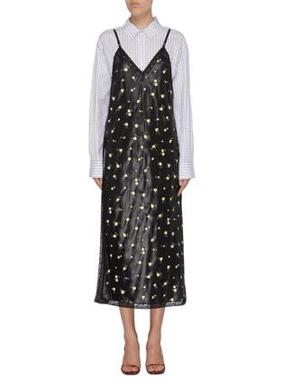 Main View - Click To Enlarge - ALEXANDER WANG - Checkered shirt underlay floral print slip dress
