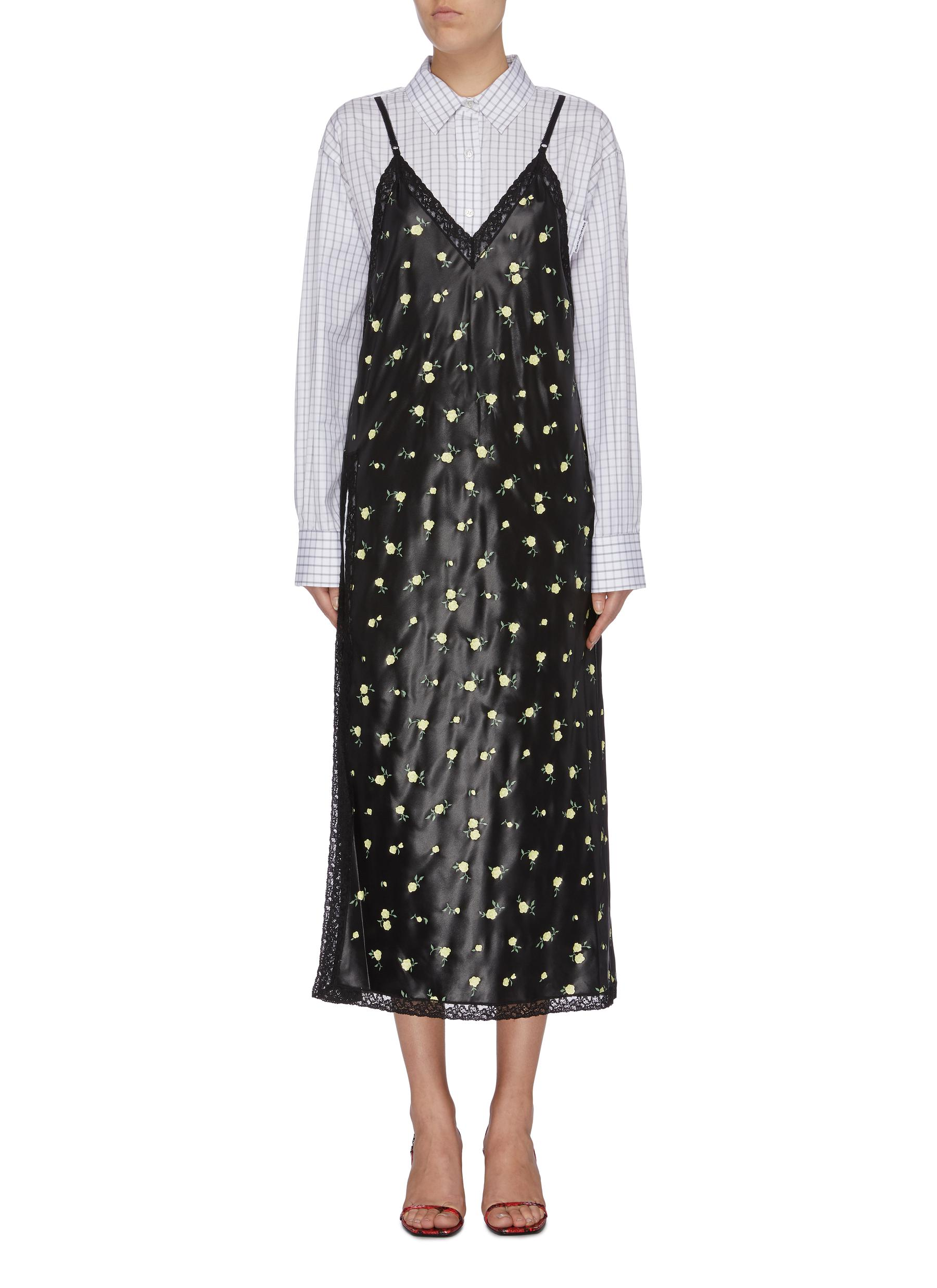 Checkered shirt underlay floral print slip dress by Alexanderwang