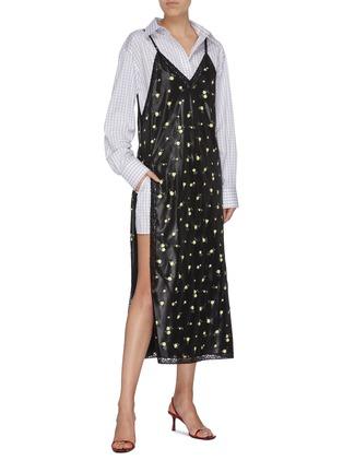 Figure View - Click To Enlarge - ALEXANDER WANG - Checkered shirt underlay floral print slip dress