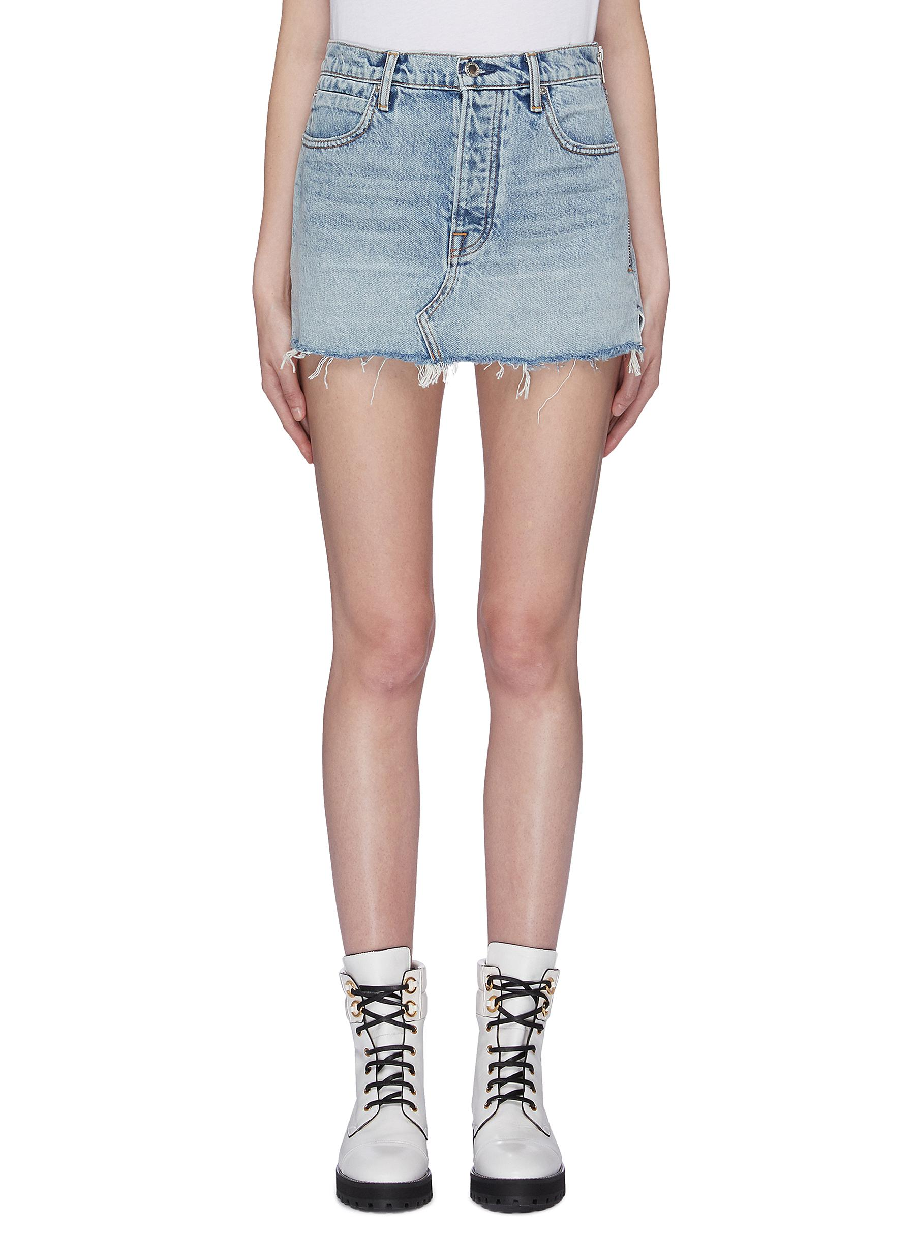 Frayed hem denim mini skirt by Alexanderwang