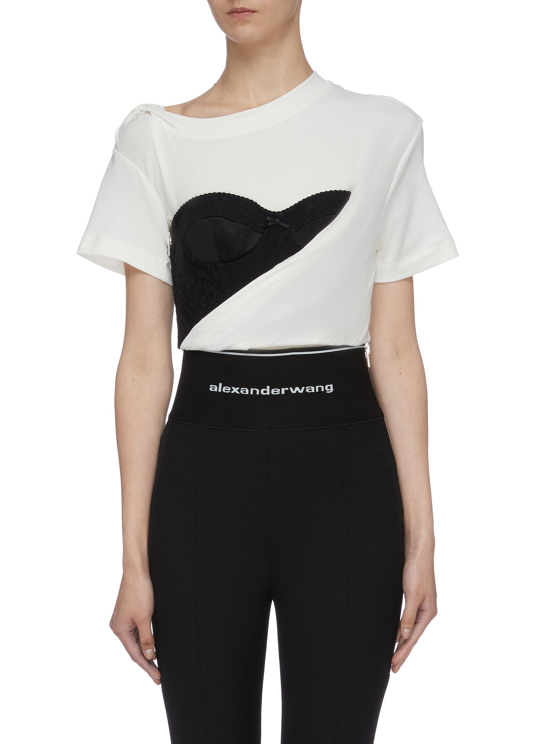 Zip colourblock corset panel gathered drape T-shirt by Alexanderwang