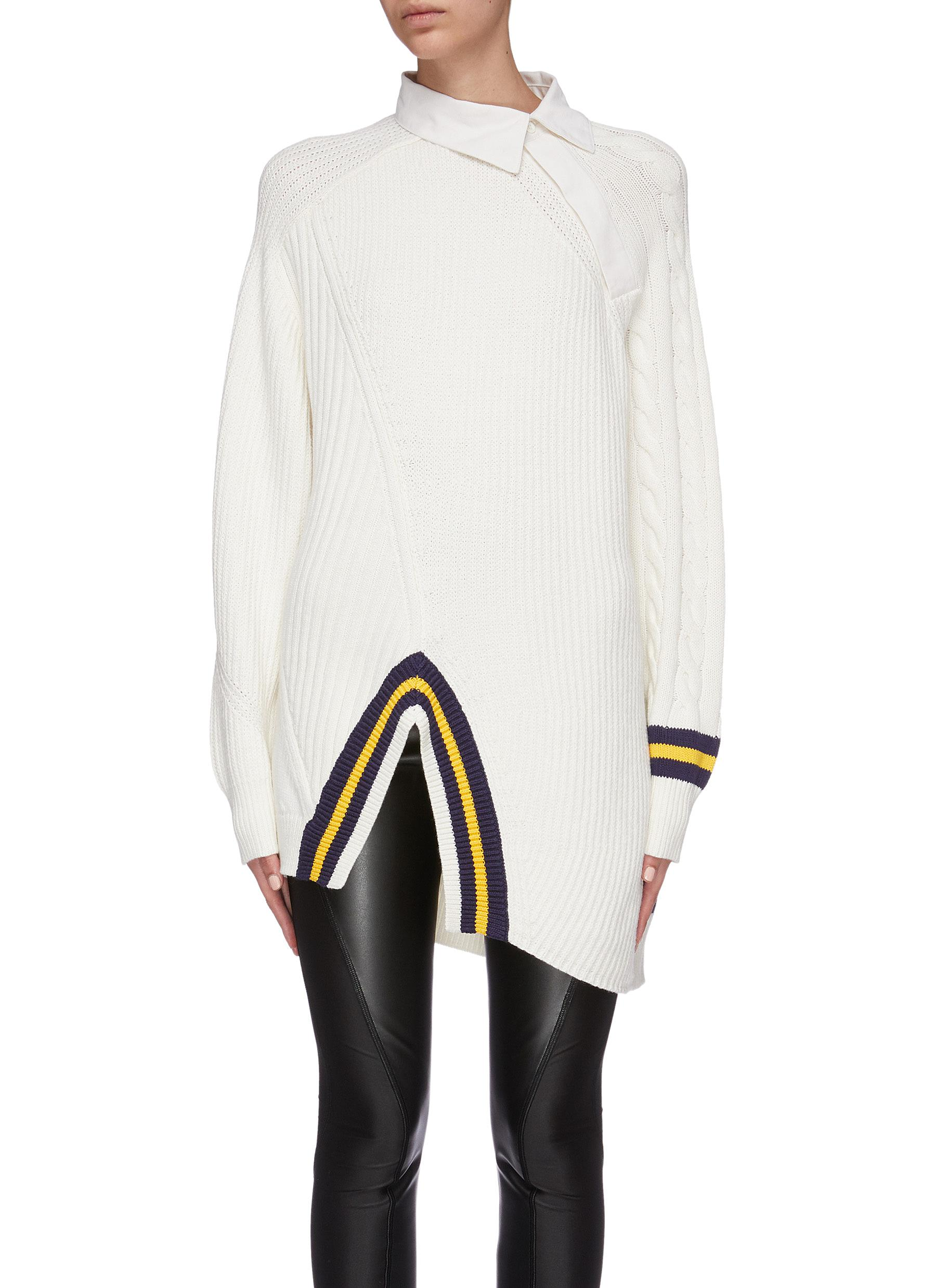 Varsity polo collar stripe split hem oversized sweater by Alexanderwang