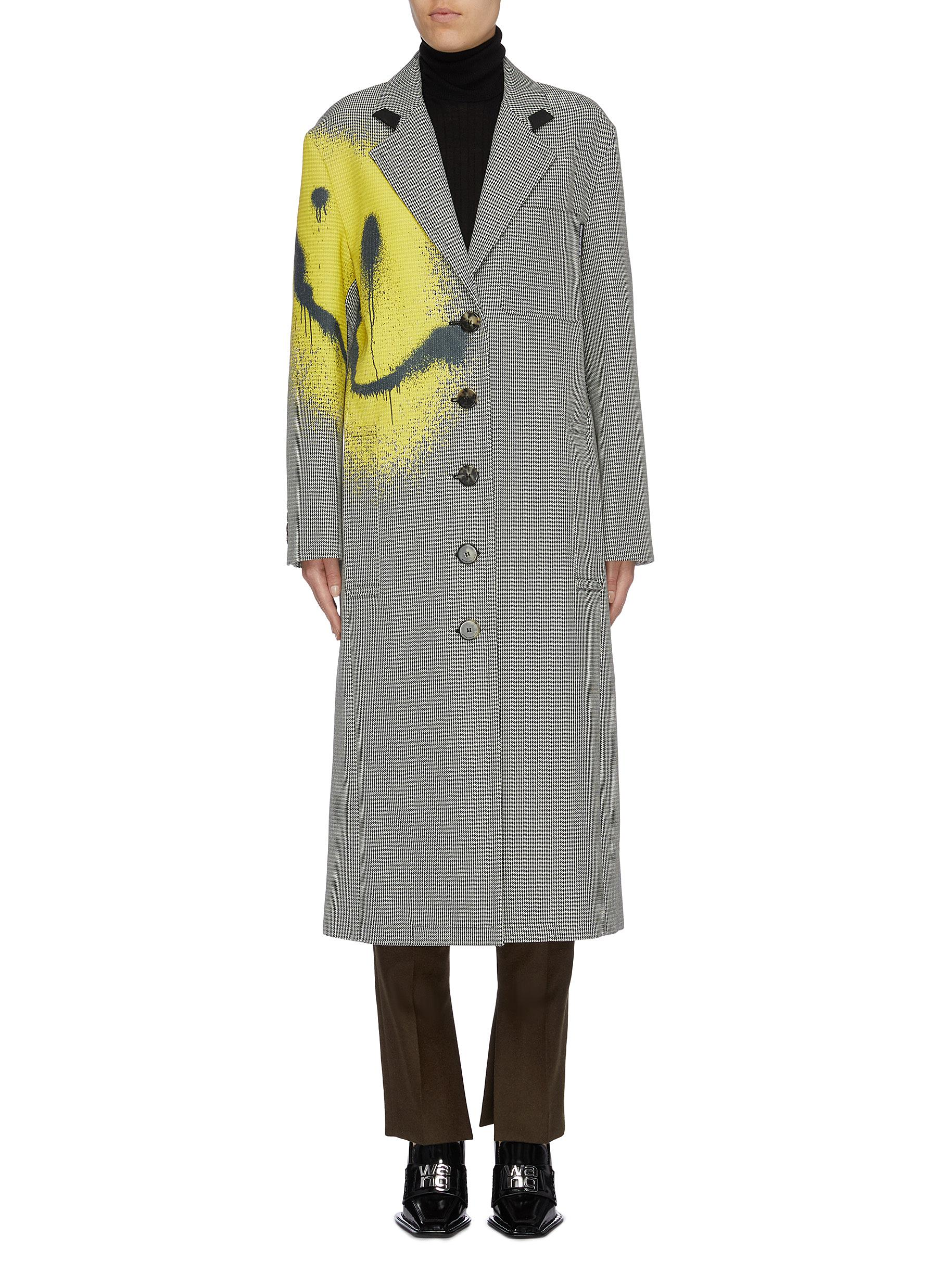 Smiley face print oversized houndstooth coat by Alexanderwang