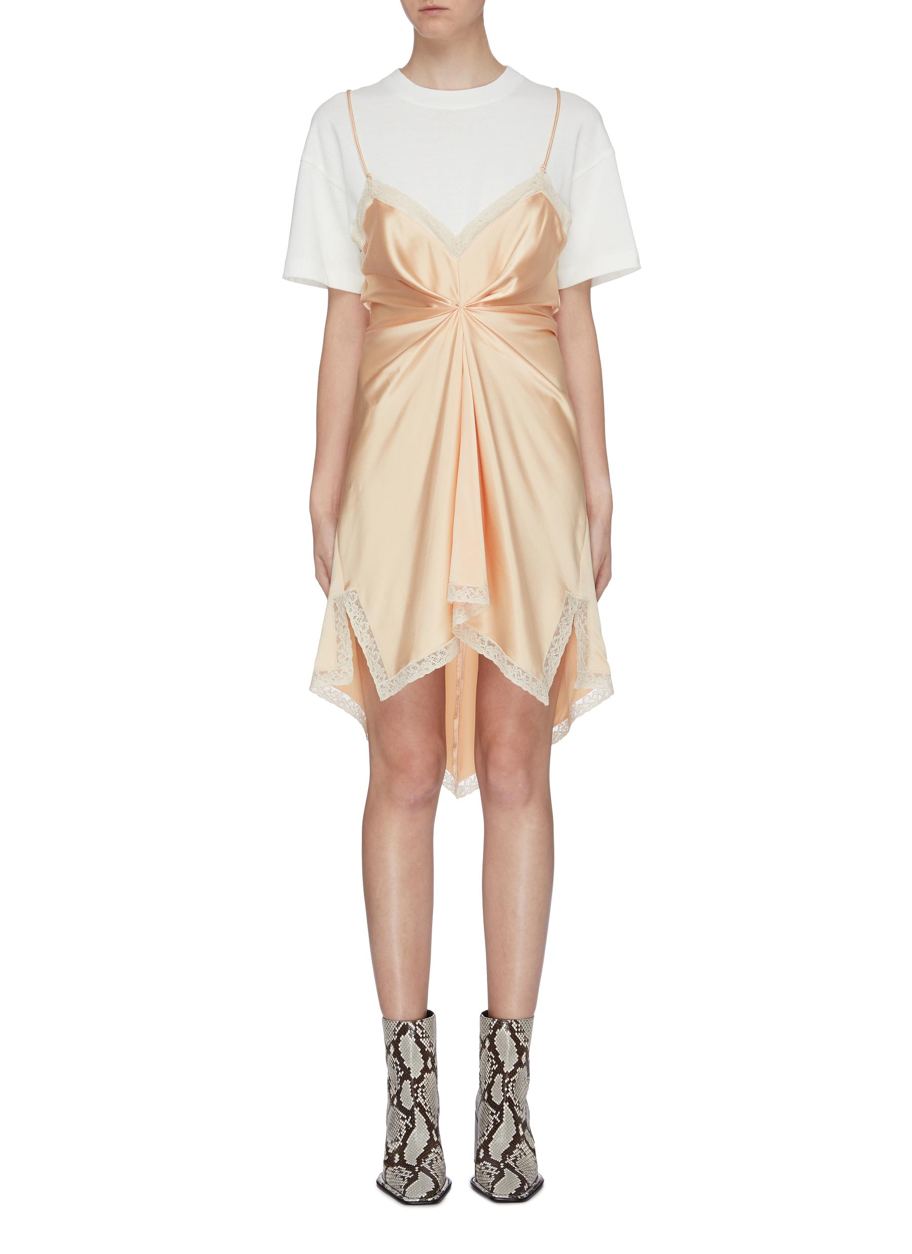 Lace edge twist front T-shirt satin slip dress by Alexanderwang