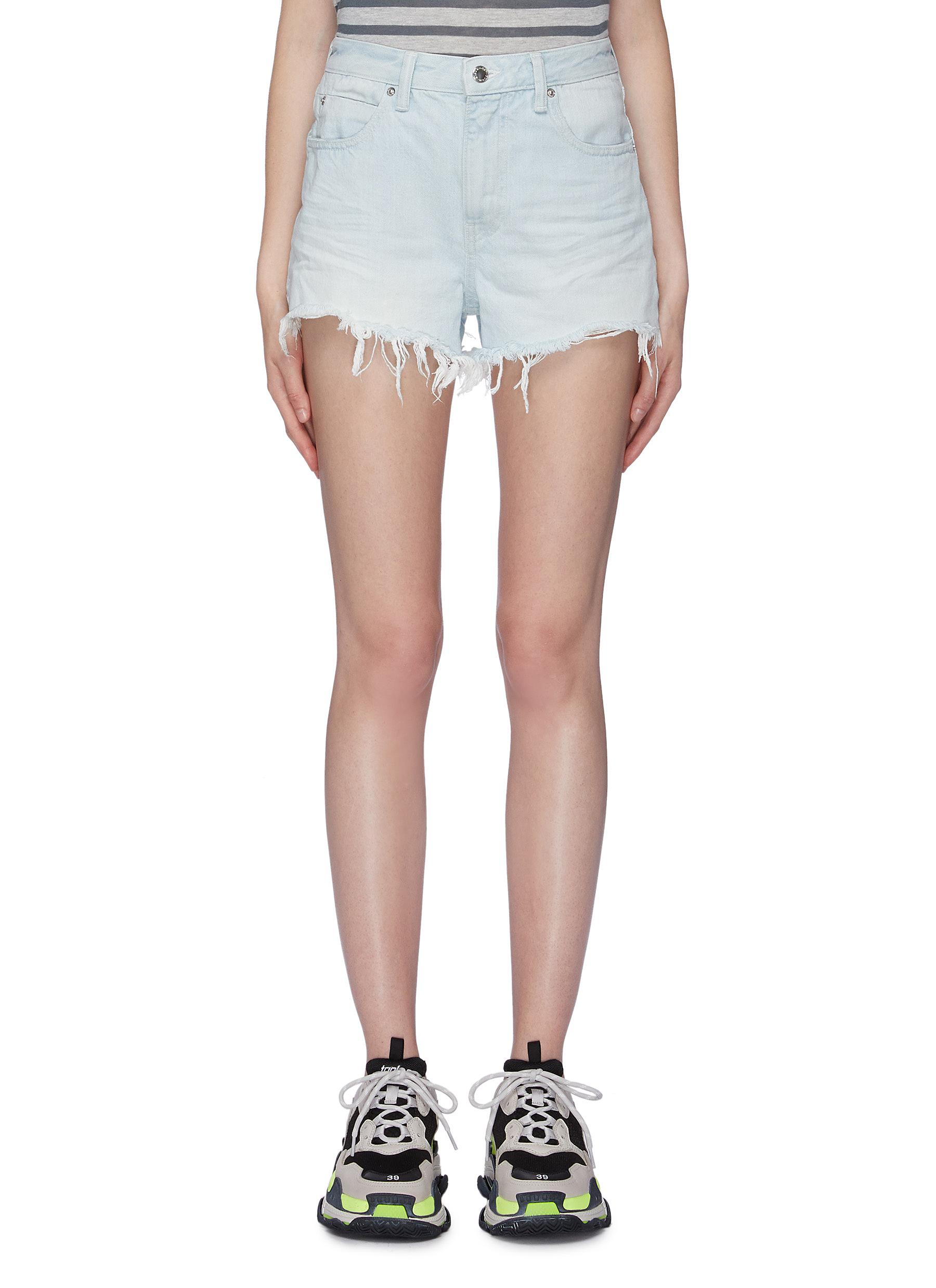 Bite frayed cuff denim shorts by Alexanderwang