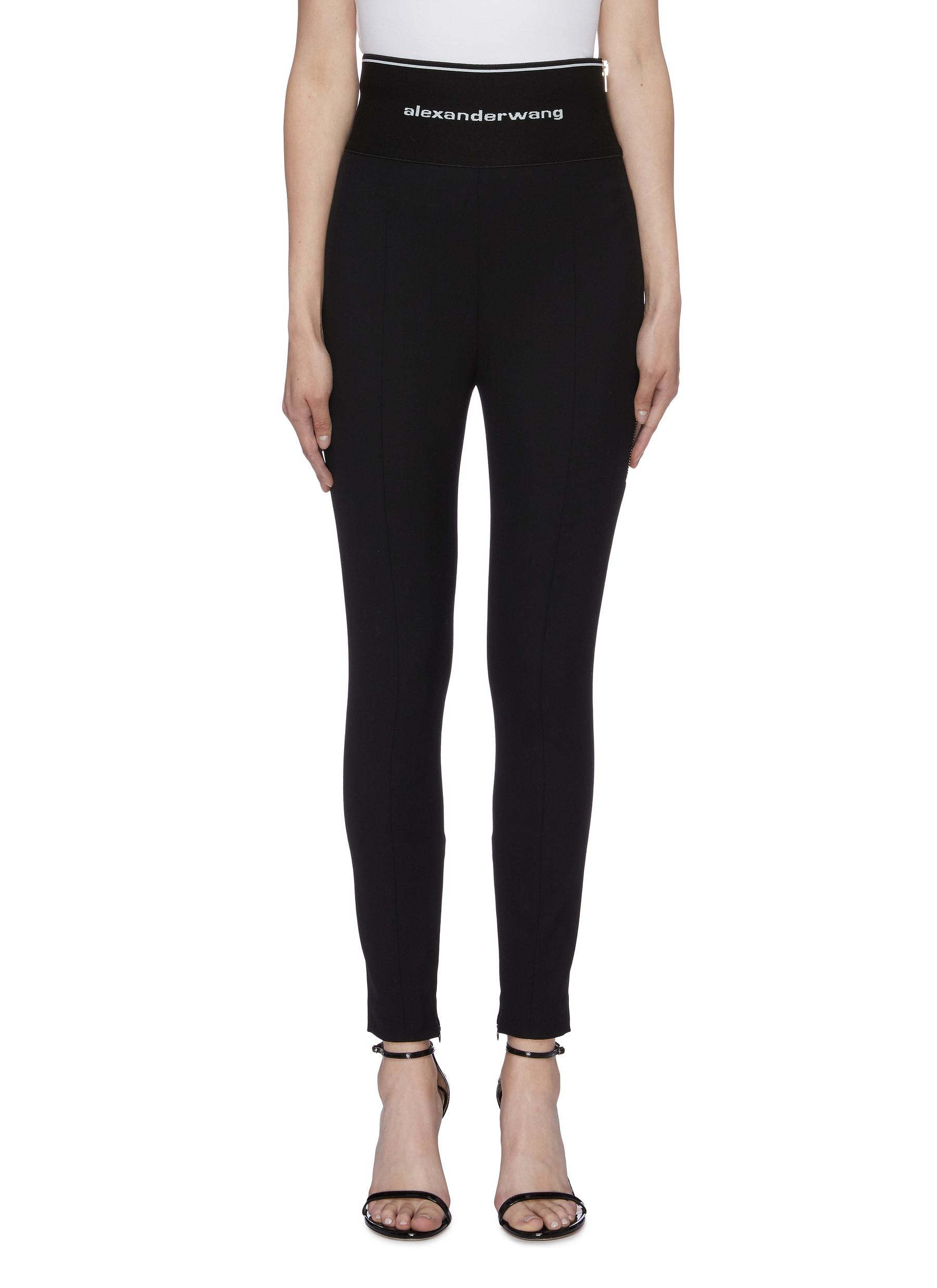 Logo waistband zip cuff wool twill leggings by Alexanderwang