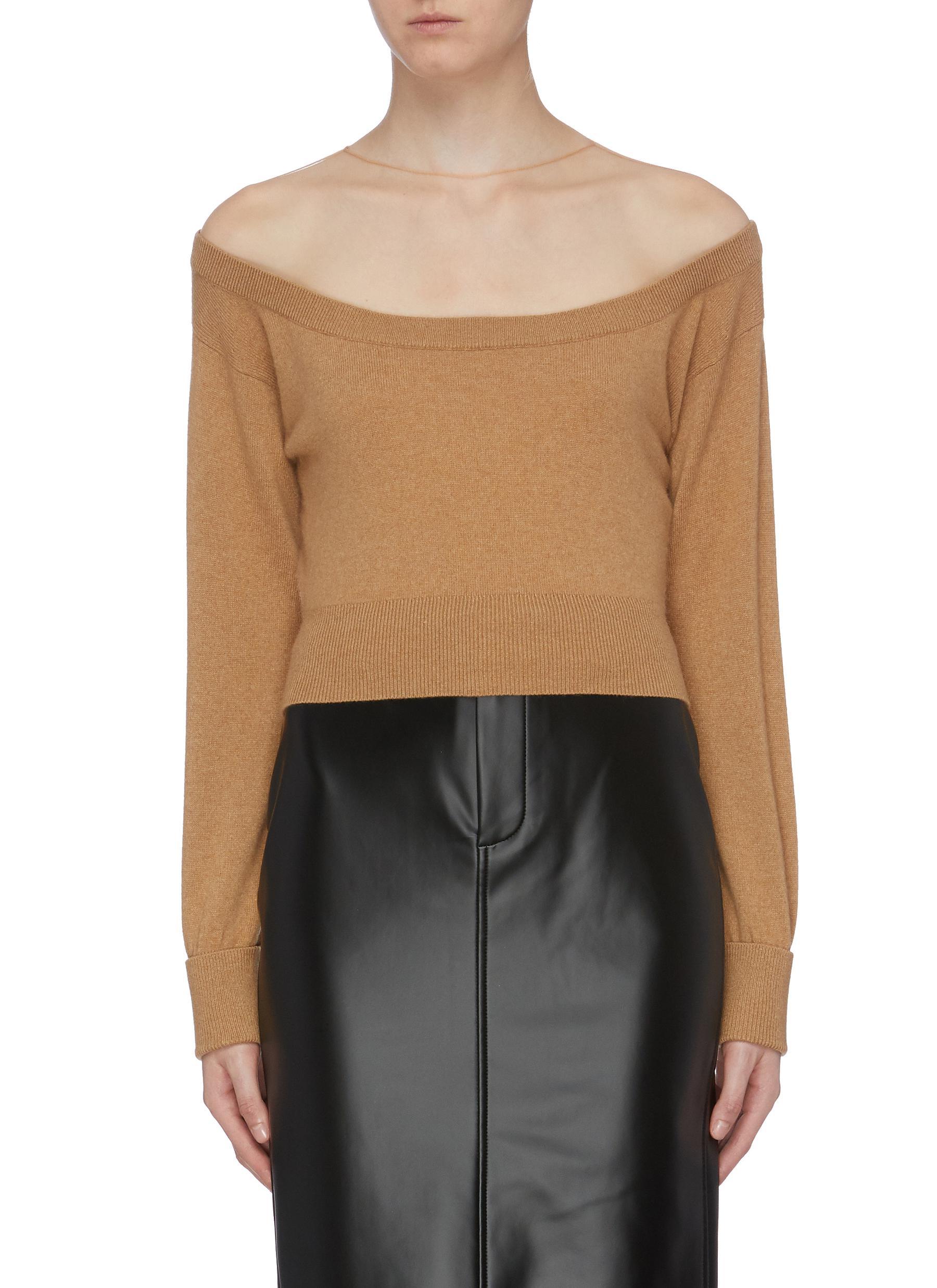 Mesh underlay off-shoulder sweater by Alexanderwang