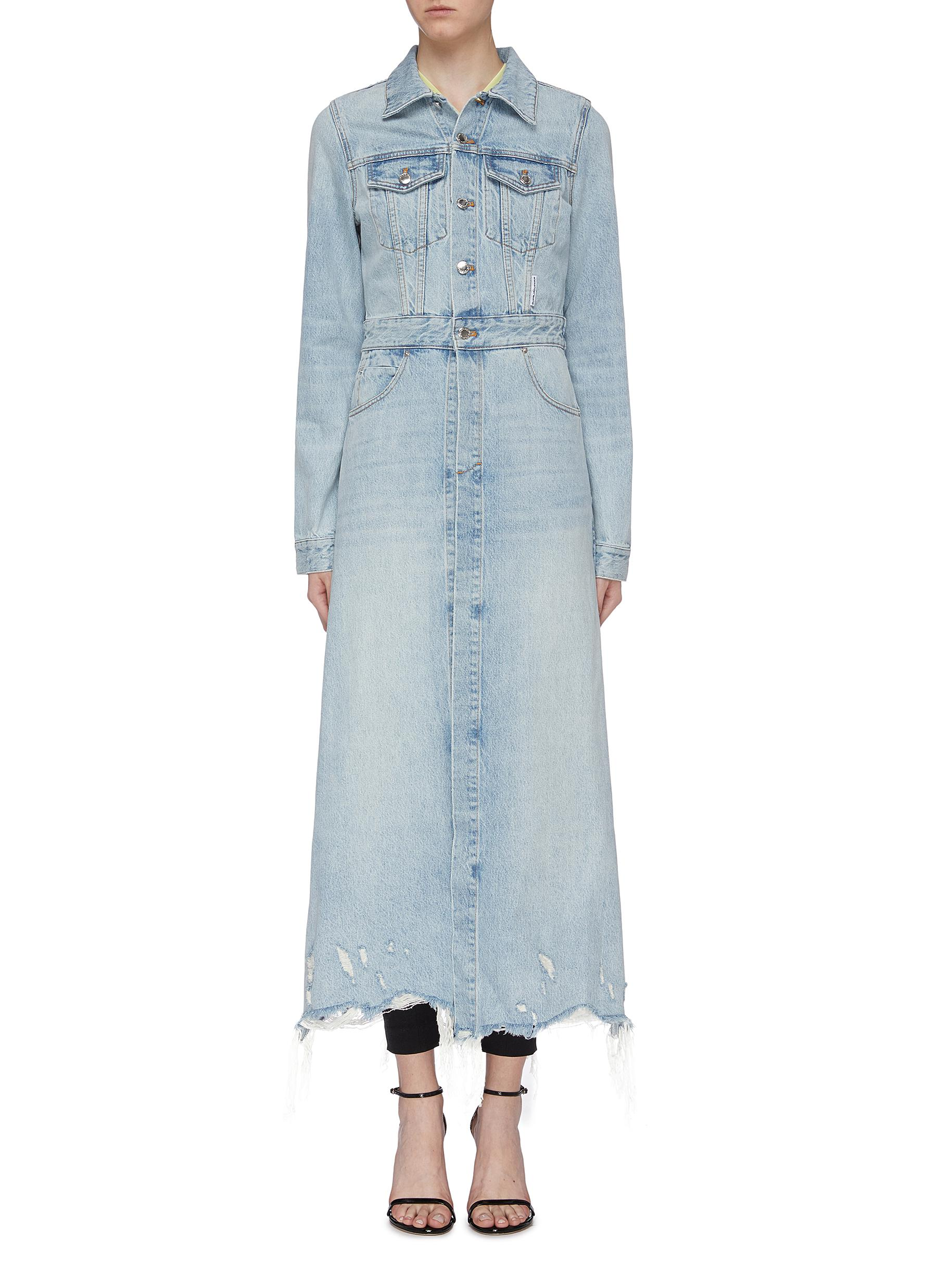 Raw hem distressed shrunken denim trench coat by Alexanderwang