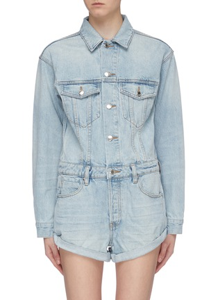 Main View - Click To Enlarge - ALEXANDER WANG - Washed denim rompers