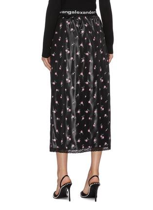 Back View - Click To Enlarge - ALEXANDERWANG - Logo waistband checker shorts underlay floral print skirt