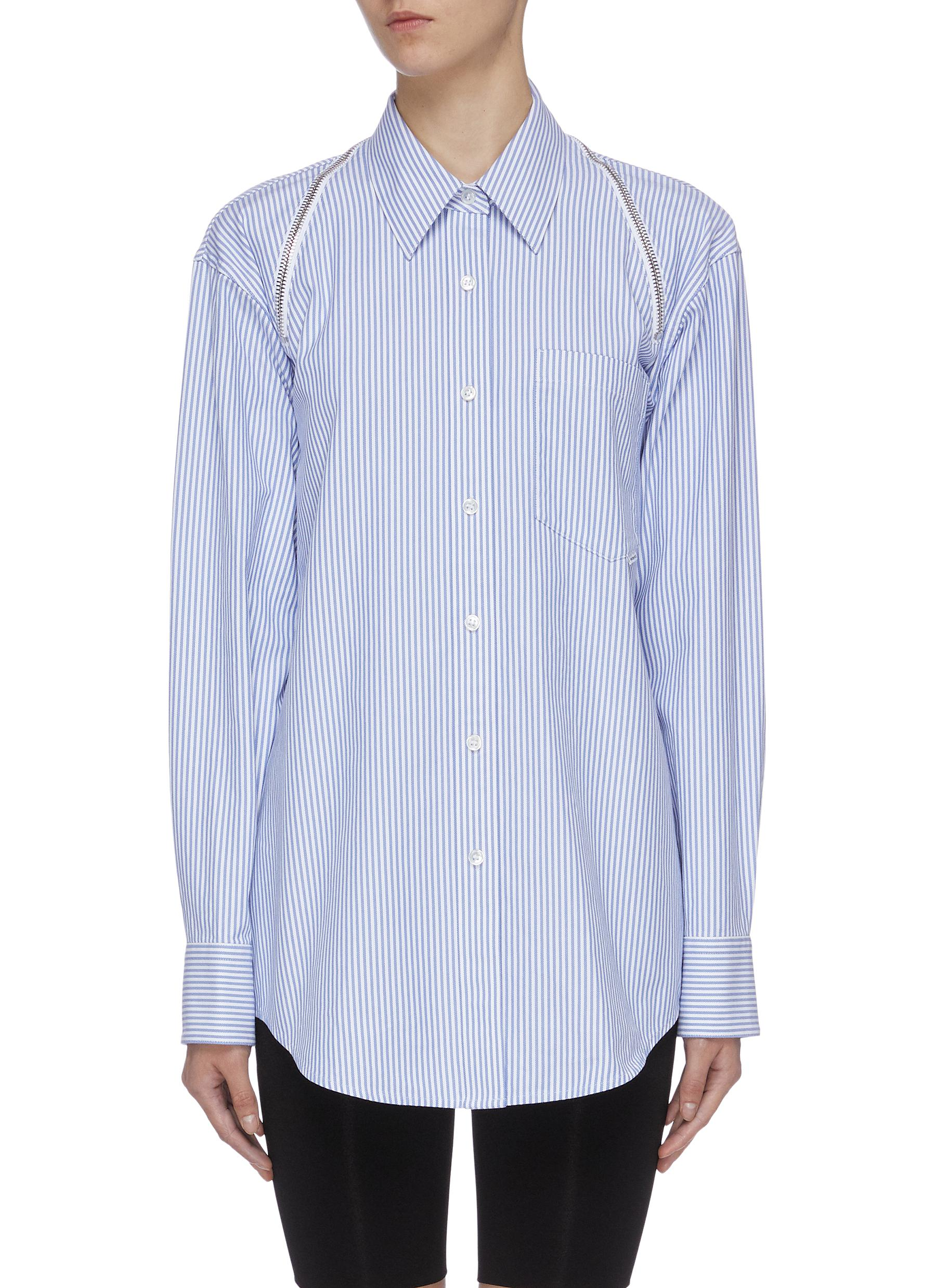 Zip shoulder patch pocket stripe twill shirt by Alexanderwang