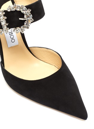 Detail View - Click To Enlarge - JIMMY CHOO - 'Smokey 100' jewelled buckled suede mules