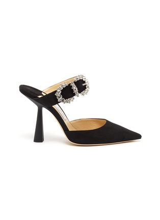 Main View - Click To Enlarge - JIMMY CHOO - 'Smokey 100' jewelled buckled suede mules