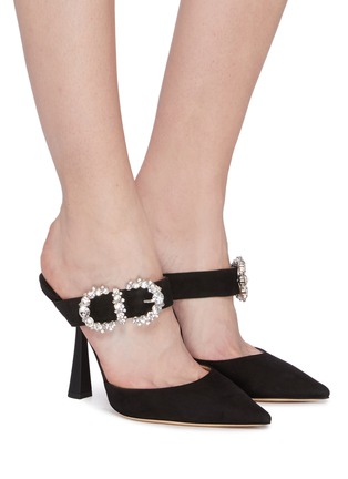 Figure View - Click To Enlarge - JIMMY CHOO - 'Smokey 100' jewelled buckled suede mules