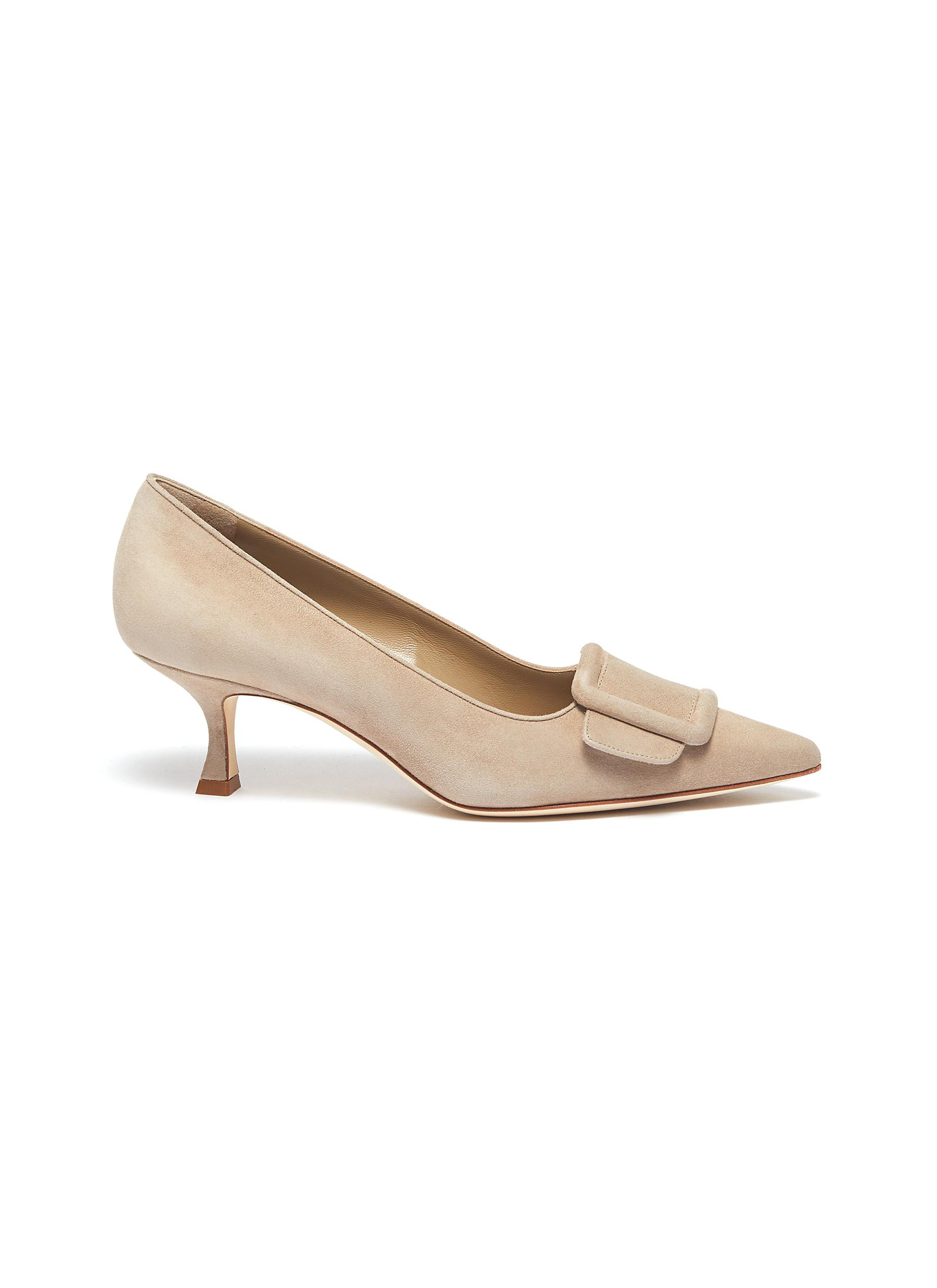 Maysale 50 square brooch suede pumps by Manolo Blahnik