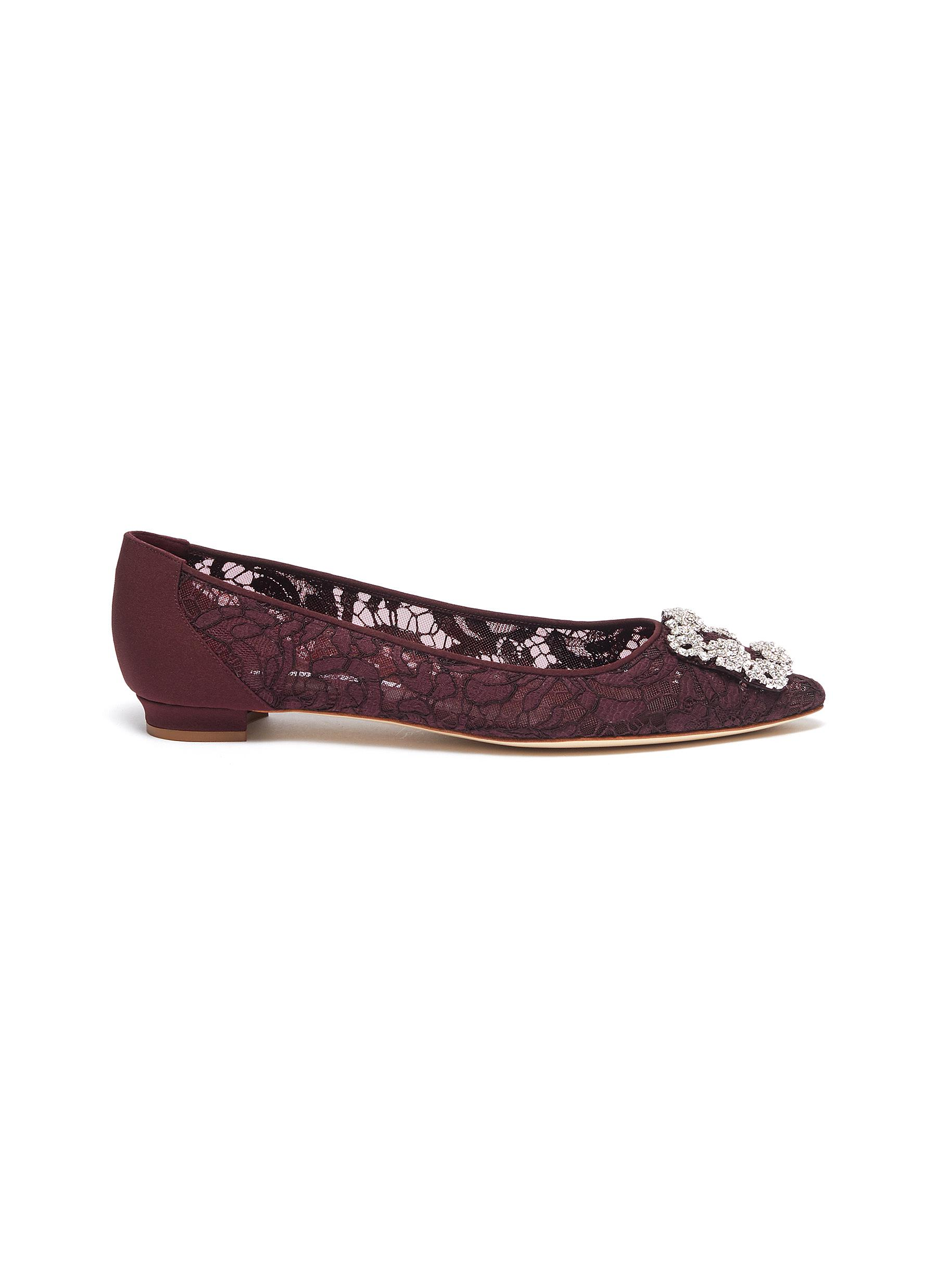 Hangisi Swarovski crystal brooch lace flats by Manolo Blahnik