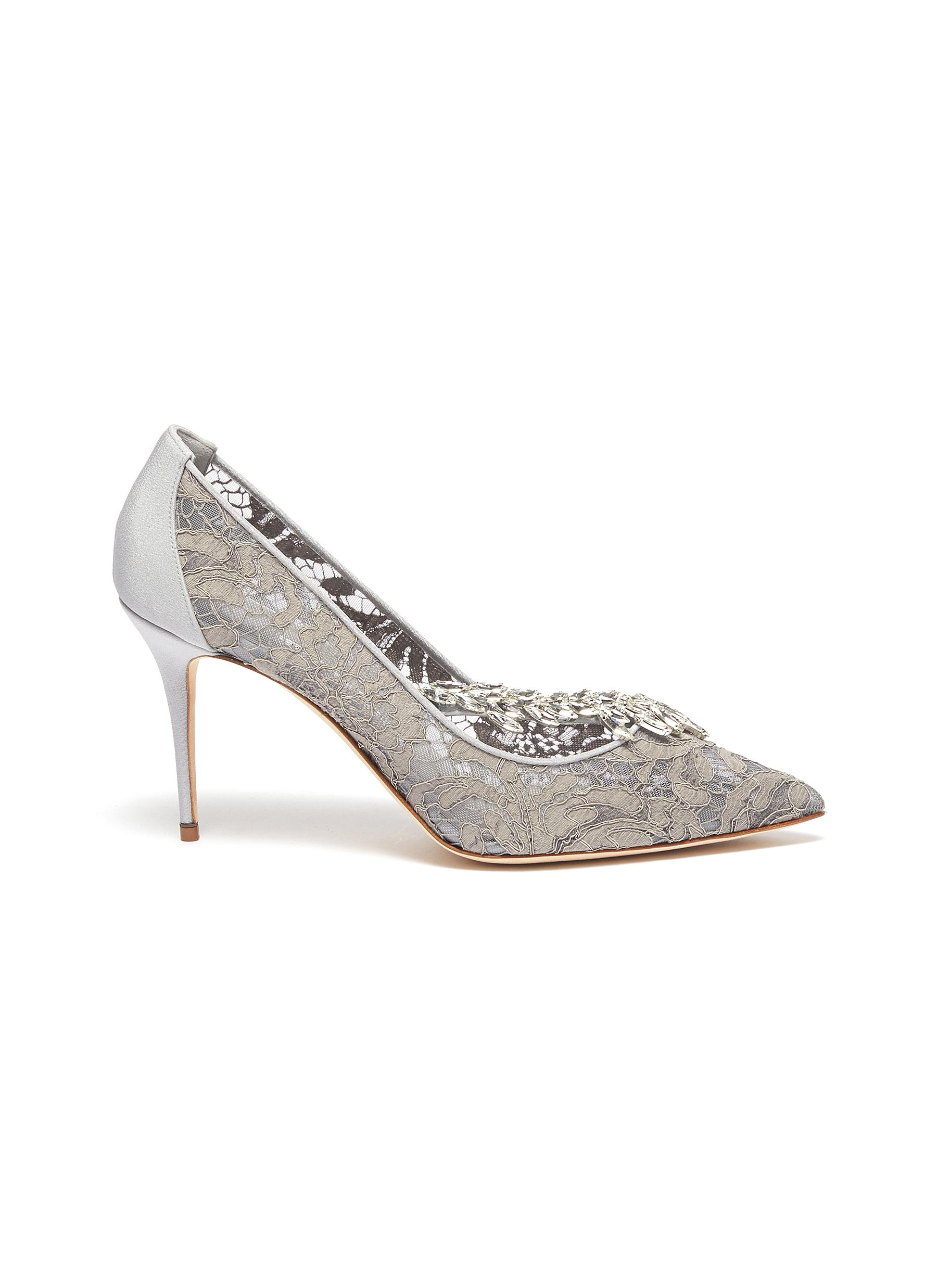 Nadira 90 strass embellished lace pumps by Manolo Blahnik