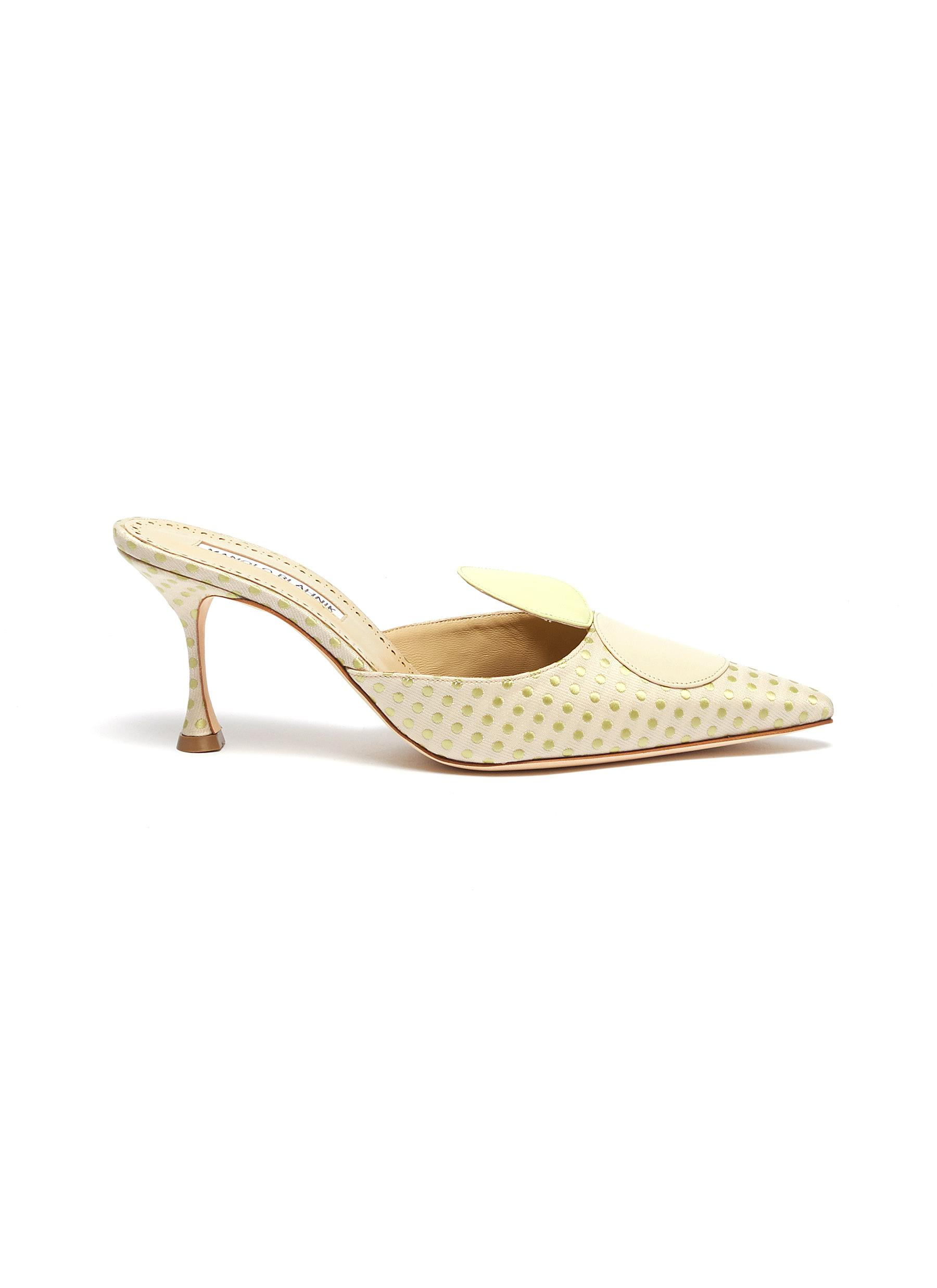 Gloden 70 circle polka dot mules by Manolo Blahnik