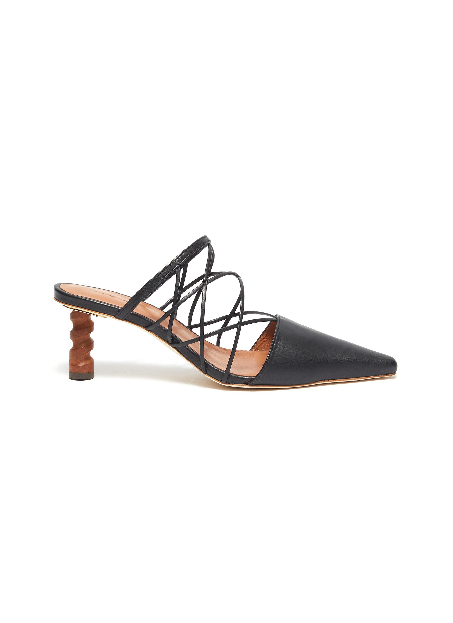 Lisa wooden heel strappy leather mules by Rejina Pyo